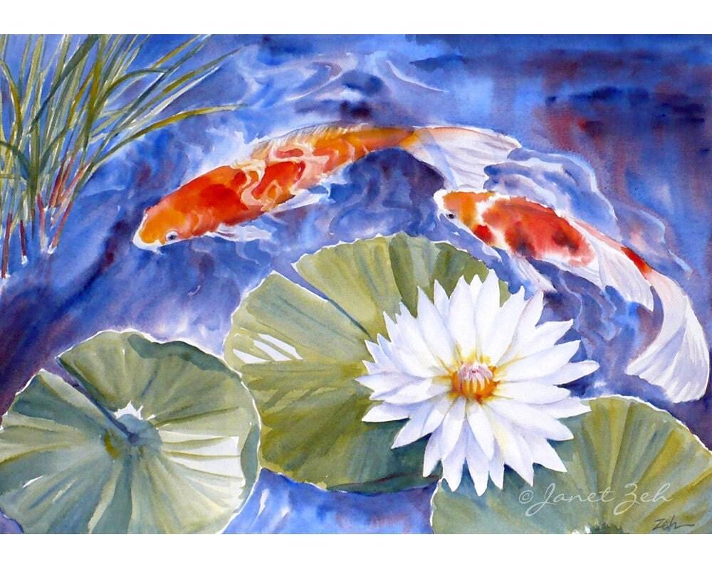 Koi painting original watercolor fish art by zehoriginalart for Koi fish watercolor