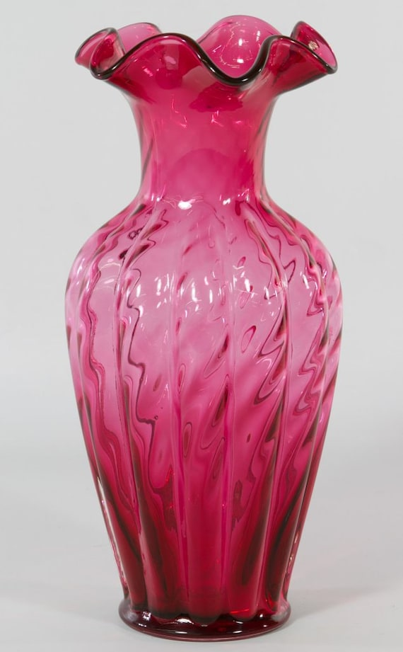 Antique Cranberry Glass Vase by Fenton offers by Auntiemollys