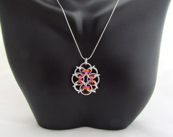 Orange and Pink Pendant, Chain Maille Jewelry, Multicolor Pendant, Ring Necklace