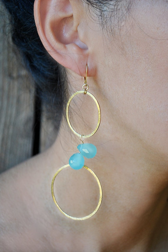 AQUA BLUE  CHALCEDONY   earrings.