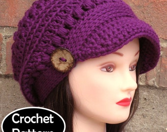 CROCHET HAT PATTERN Instant Download Pdf - Brooklyn Newsboy Brimmed Beanie Hat Womens - Permission to Sell