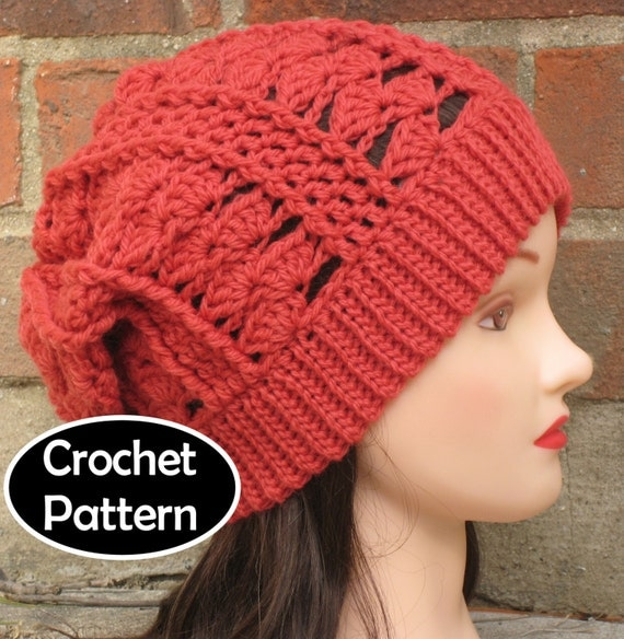 Free Crochet Pattern Slouchy Hat With Brim : CROCHET HAT PATTERN Instant Download Pdf Clara by AlyseCrochet