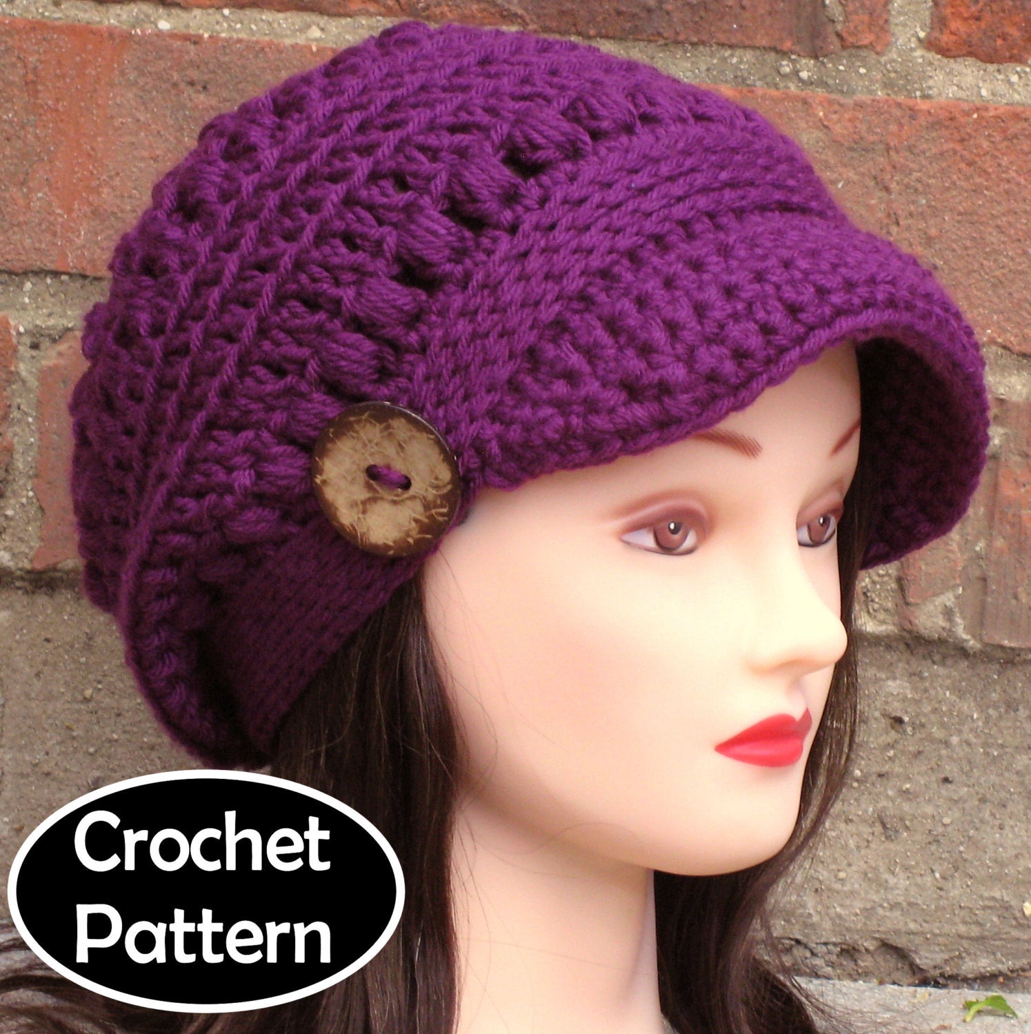 Free Crochet Hat Patterns To Download : CROCHET HAT PATTERN Instant Download Pdf Brooklyn Newsboy