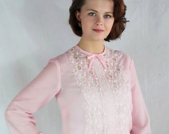60s Vicky Vaughn Dress, Cotton Voile, Pink, Lace, Sheer