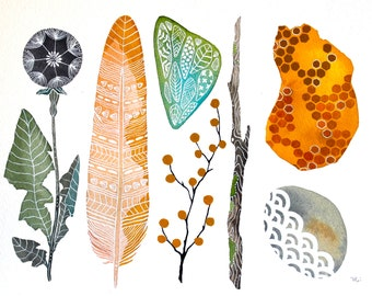 Watercolor Art, Nature Painting, Feather, Dandelion, Honey, Archival Print, Teva's Collection