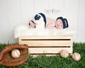 Newborn Backward Baseball Hat & Pants - Baby Boy-Photo Prop