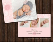 INSTANT Download5x7 Birth Announcement Card Template - B39