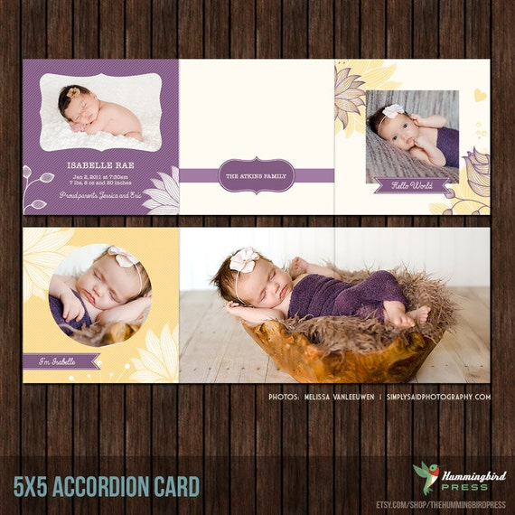 INSTANT Download5x5 Accordion Card Template 5x5 - A3