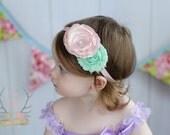 Printemps bébé bandeau - rose Pastel & Mint - Newborn Infant bébé bambin filles adulte mariage printemps Pâques