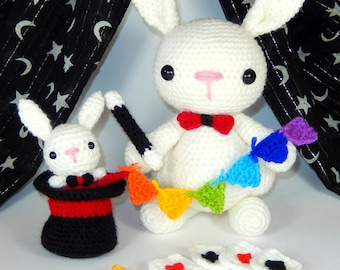 The Great Marvello and Little Marvin, Magician Rabbits, Amigurumi Crochet  Pattern