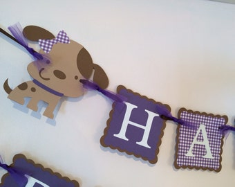 Puppy Birthday Banner/Dog Birthday Banner/Puppy Party/ Custom Birthday Banner/ Purple/Brown/Name Banner/ Puppy Party Package