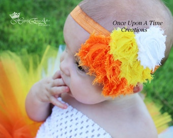 Candy Corn Shaped Orange Yellow White Shabby Flower Headband - Photo Prop - Newborn Baby - Little Girls Hair Bow Autumn Fall Accessories