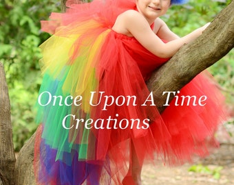 Scarlet Macaw Bustle Tutu Dress - Girls 12M 2T 3T 4T 5 6 7 8 10 12 14 or Baby Infant Size Newborn 3 6 9 12 Months - Parrot Costume