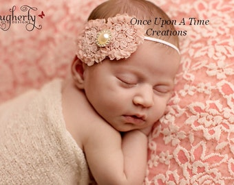 Stonewashed Pink Baby Girl Flower Headband Hair Bow - Perfect Newborn Baby Girl Photo Prop - Faux Pearl Center