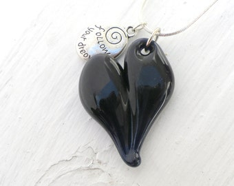 Glass Heart Necklace, Dark Blue Blown Boro Pendant, Charm Silver Chain Follow your Dreams SRA