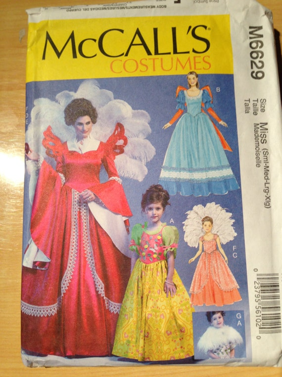 McCalls Sewing Pattern 6629 Misses and Girls Costume Fairy Tale Queen and Princess Size S - XL