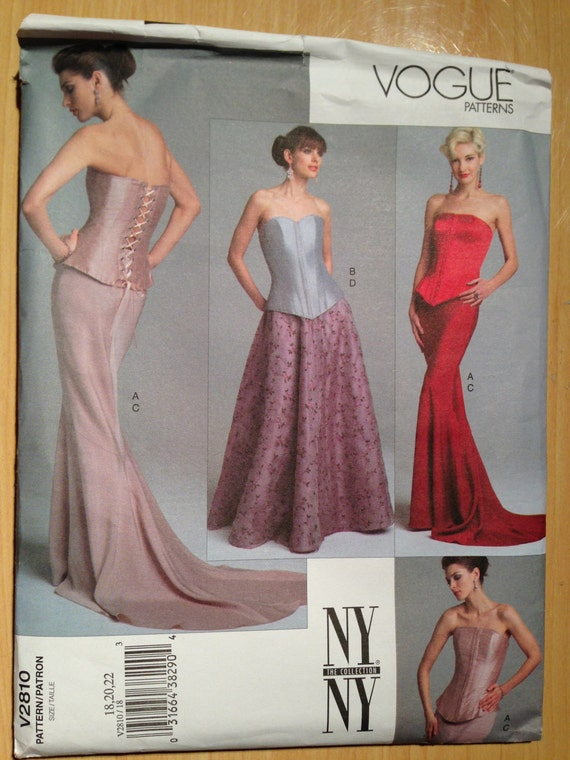 Vogue 2810 Sewing Pattern UNCUT Misses Elegant Corset Top & Skirt Size 18 - 22