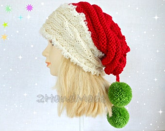 Christmas Cable Chunky Hand Knit Slouchy Hat Kids Santa Convertible Toddler Preteen Family Pom Pom  Red White Green Black Tube Scarf