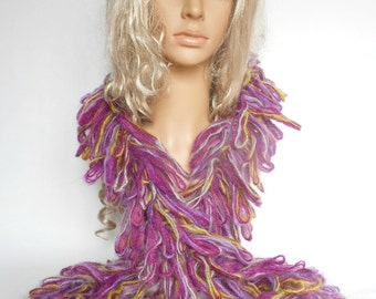 Ruffle Scarf Boa Spiral Soft Fluffy Crochet Purple Neck Warmer Women Ladys