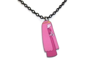 Princess Bubblegum Necklace, Adventure Time Jewelry, Kawaii Cute Perspex Pendant, Laser Cut , PB