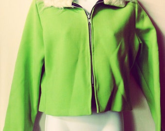 GLAM Funky Fluorescent Lime Green Polyester Cropped Jacket Fake Shag Fur Collar Sz S/M