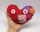 Red stuffed heart handmade in felt, patched heart soft plushie, felt plushie for valentines day, healing heart fiber art