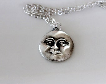 Handmade fine silver moon face pendant | sterling silver chain | man in the moon necklace | mythological | artisan jewelry | girlthree