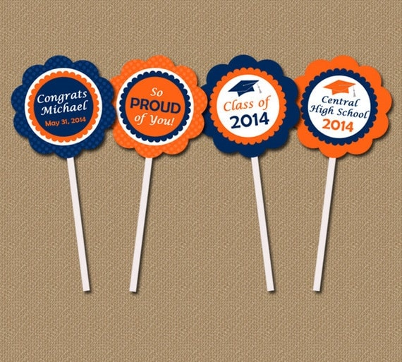 Personalized Graduation Cupcake Toppers - DIY Printable 2 inch Party ...