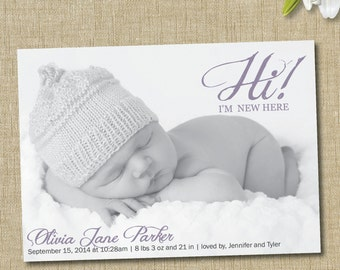 baby girl birth announcement. custom photo card. Hi I'm New Here