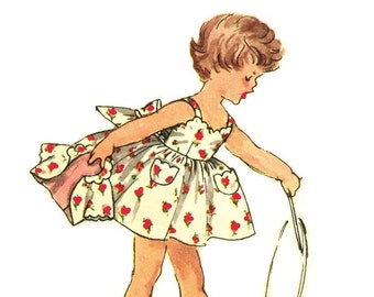 Simplicity 1149 Photocopy of Super Adorable Vintage 50s Toddler Dress, Sundress, Jacket, Scallop Trim,Twirly Sewing Pattern Size 1 or 2