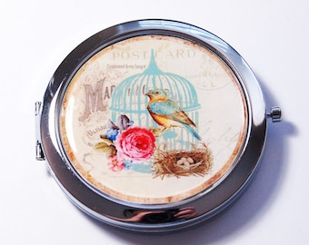 Pocket mirror, compact mirror, Bird compact mirror, mirror, Nature pocket mirror, bird, bird cage, flower (2741)