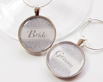 Wedding Wine Charms, Bride Groom Charms, Wine Charms, Damask, Silver Plate, Gray, Wedding Shower, Bridal Shower, table setting (2750)