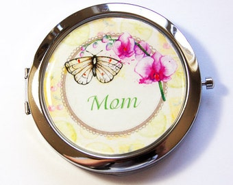 Personalized compact mirror, compact mirror, pocket mirror, Butterfly, flower mirror, floral, personalized, custom, Bridesmaid gift (2903)