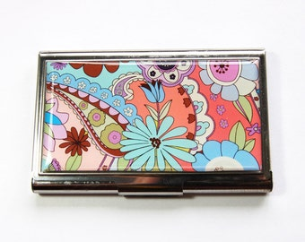 Flower card case, Floral case, Business Card Case, Card case, business card holder, Flower Power, Modern Flowers (3176)