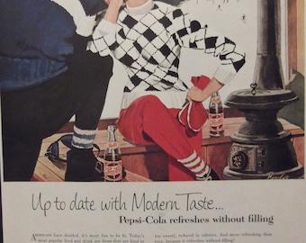 1950s PEPSI AD Original Vintage Magazine Ad Kitchen Print Cafe Decor Restaurant Wall Art 1950s Ski Lodge Sweater Ready To Frame