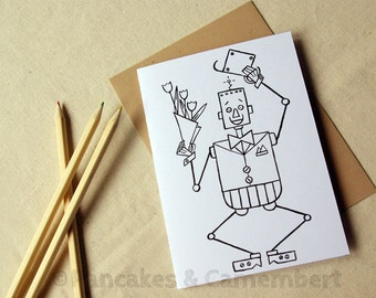 Coloring card - Robot