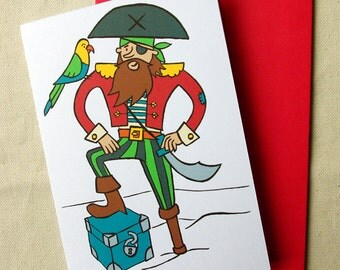 Greeting card - Pirate with a parrot