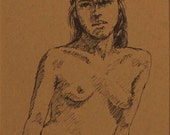 "Life Drawing Figure Study Female Pen & Ink 7 X 5"" Double Matted 10X8"" No.164"