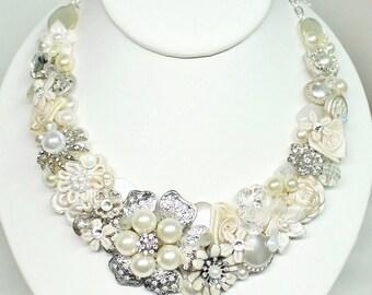 Cream Bridal Bib- Pearl & Rhinestone Bridal Bib Necklace- Bridal Statement Necklace- Wedding Necklace- Cream Bridal Necklace- Brass Boheme