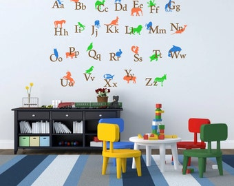 ABC Wall Decal, Alphabet Sticker, Kid Room Decor, Animal Alphabet, Back To  School, Alphabet Letters, Play Room Decor, Nursery Decal ID264 p]