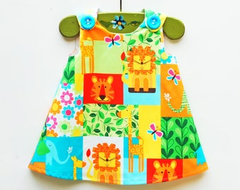 On Sale - Kids - Toddler Clothing - Zoo - Baby Girls - 1st Birthday Party - Party Dress - Summer Dress - Girls Clothing