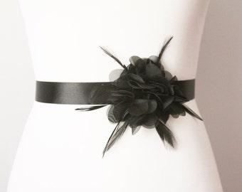 Bridal Chiffon Flower Black Feather Ribbon Sash Belt - Wedding Belt, Night Dress Sashes Belts