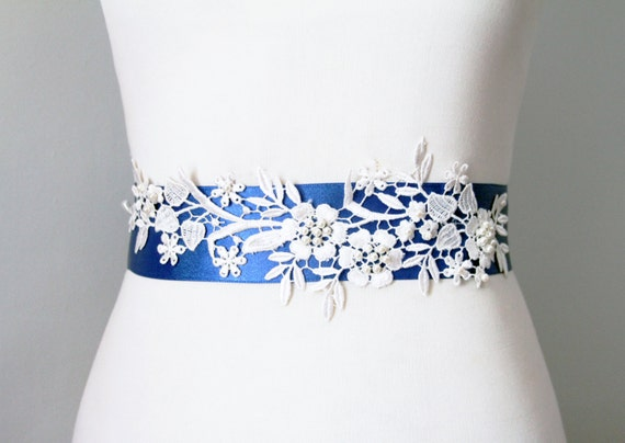 Bridal couture beaded ivory lace flower royal blue by for Blue sash for wedding dress