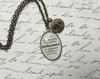 ENDURANCE Definition Marathon Necklace or (13.1)