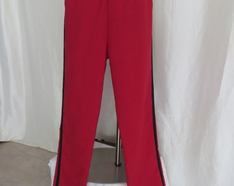 Vintage 70s mens womens unisex pants, red black band uniform, Halloween costume clown cosplay
