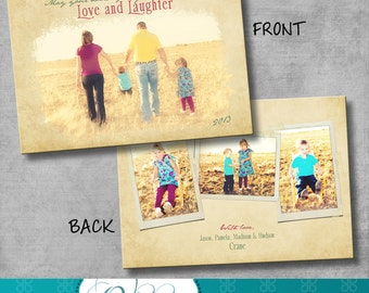 Christmas photo card - double sided photo holiday cards - vintage - 5x7