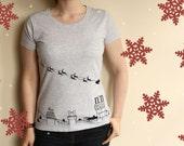 Womens Christmas T Shirt - Handmade Holiday T-Shirt - Sleigh Ride Over Rooftops - Christmas Gift