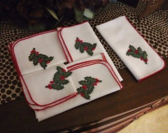 Vintage Christmas Dinner Napkins Set of 5 with Holly Berries 17 inch Square