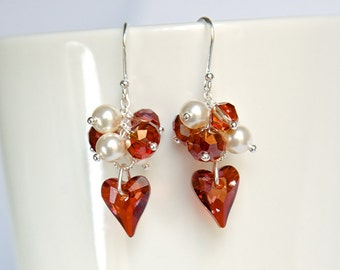Sterling silver earrings with brown red wild heart Swarovski crystals, unique heart shape, cluster of pearls and crystals, fashion ear rings