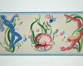 Full Vintage Wallpaper Border - TRIMZ - Pink and Blue Water Fairies, Water Nymphs, Mermaids Sea Shells Bubbles Fish Bathroom Border - 4 Inch